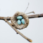 Broche « My little nest » aqua