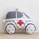 Hochet «Mini ambulance» en tissu blanc et étoiles dorées