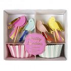 Kit de décorations pour cupcakes Oiseaux Pretty birdies