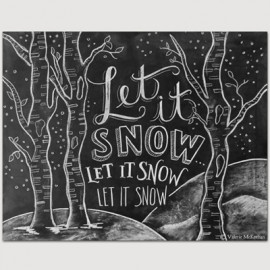 Carte double Let it snow with trees
