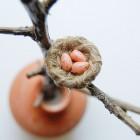 Broche «My little nest» pêche