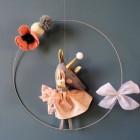 Mobile Mon petit lapin gris et rose poudré