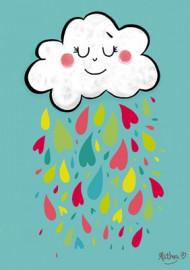 Affichette Pluie de cœurs